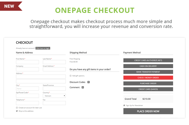 Paradise - Onepage checkout