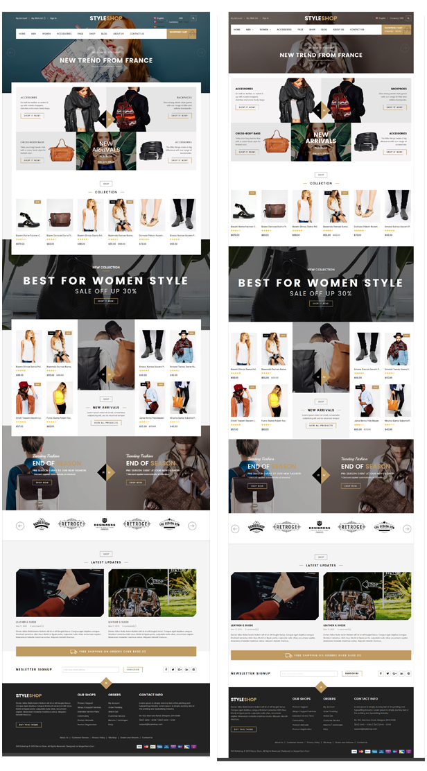 Styleshop - Boxed and wide layouts